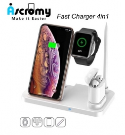 Беспроводная зарядка Ascromy 4in1 Wireless for iPhone, iWatch, AirPods White