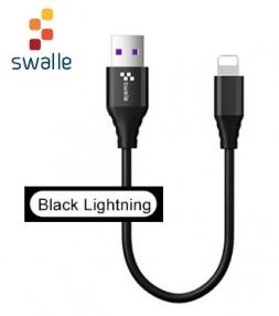 Кабель Swalle USB - Lightning 3A 0.2м Black
