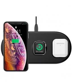 Беспроводная зарядка Baseus Smart 3in1 Wireless for Phone, Watch, AirPods 18W Black