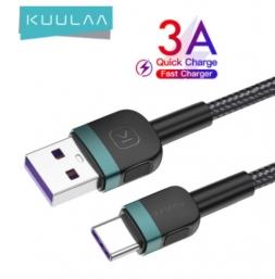 Кабель Kuulaa USB - USB Type-C 3A 1м Black/Green