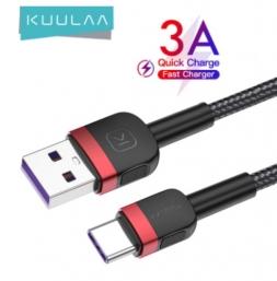 Кабель Kuulaa USB - USB Type-C 3A 1м Black/Red