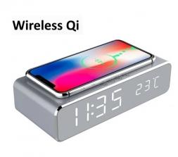 Беспроводная зарядка, настольные часы, термометр Grey