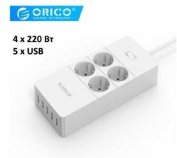 Сетевой удлинитель ORICO HPC-4A5U 1.5м 4x220V и 5xUSB White