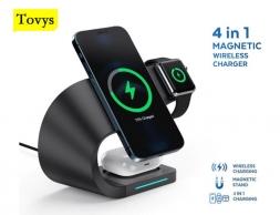 Зарядная станция Tovys 4 в 1 black для IPhone, Apple Watch, AirPods, Samsung