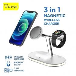 Зарядная станция Tovys 3 в 1 для IPhone, Apple Watch, AirPods, Samsung