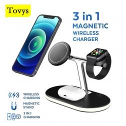 Зарядная станция Tovys 3 в 1 для IPhone, Apple Watch, AirPods, Samsung black