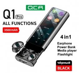 Беспроводные наушники QCR Q1PRO 4в1 медиаплеер повербанк фонарик Black