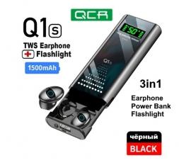 Беспроводные наушники QCR Q1s 3в1 повербанк фонарик Black