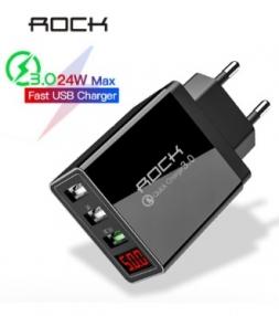 Зарядное устройство ROCK 24W 3xUSB Black