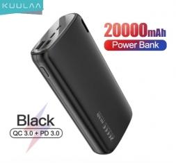 Kuulaa 20000mAh QC3.0+PD3.0 Power Bank Black