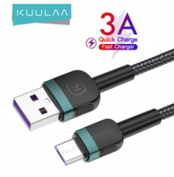 Кабель Kuulaa USB - Micro USB 3A 1м Black/Green