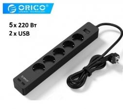 Сетевой удлинитель ORICO GPC-5A2U-EU 1.5м 3x220V 2xUSB Black
