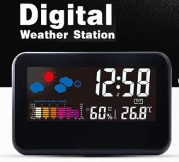 Метеостанция Loskii DC-002 с цветным экраном, термометр, гигрометр, часы