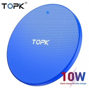 Беспроводная зарядка TOPK Wireless Qi 10W Blue